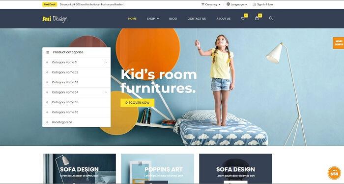 Ani Design là theme wordpress miễn phí được thiết kế cho cửa hàng trực tuyến bán đồ nội thất