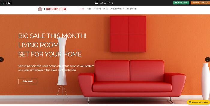 LT Interior là wordpress hoàn hảo để giới thiệu website nội thất của bạn