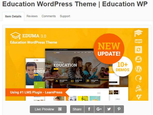 Theme wordpress học trực tuyến Education có giao diện đẹp mắt, thu hút người sử dụng